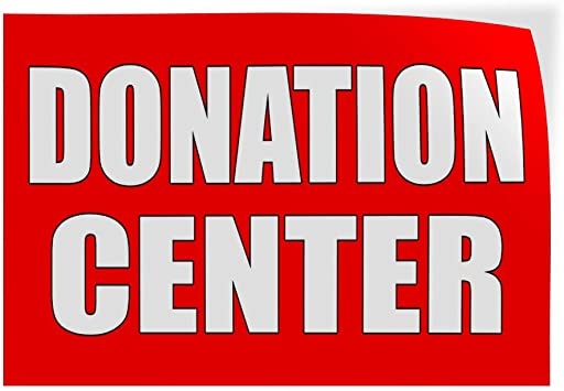Decal Sticker Donation Business donation center Outdoor Store Sign Red