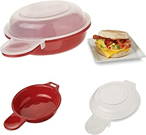 2PCS Microwave Egg Cooker, Red and Clear,Breakfast Pan That Fits on Muffins,Biscuits, Bagels and More