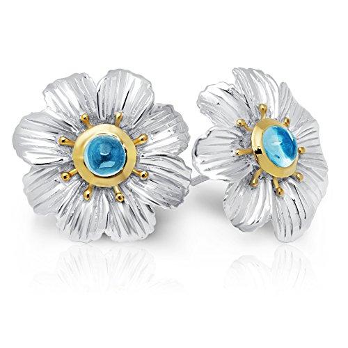 Blue Topaz Flower (Blue Topaz Flower Earrings in Sterling Silver)
