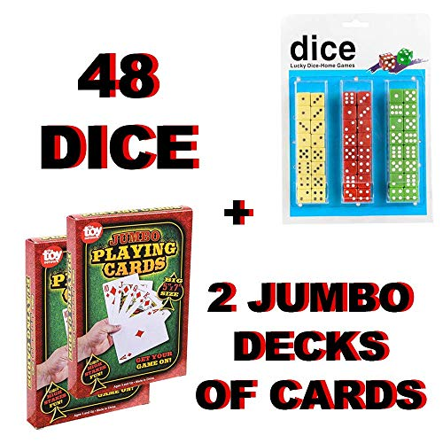 2 Decks of Jumbo Playing Cards 5 X 7 Inches and 48 Standard Dice| Giant Cards and Dice Set for Preschoolers to The Elderly | Poker, Casino, Magic | Alzheimer's and Dementia Products ()