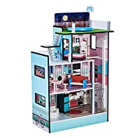 """Teamson Kids - Dreamland Barcelona Wooden Pretend Play Doll House Dollhouse for 3.5"""" Doll with 10 Pieces of Furniture- Blue / White / Pink"""