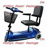 Zip'r Mobility - Xtra Traveler - Travel Scooter - 3-Wheel - 16W x 14D - Blue - PHILLIPS POWER PACKAGE TM - TO $500 VALUE