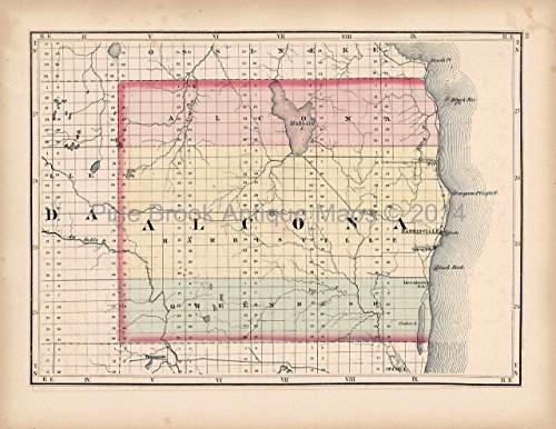 Alcona Oscoda County MI Antique Map Walling 1873 Original Michigan Decor History Gift Ideas