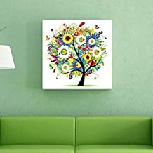 Idealhere 11CT Colorful Tree Cross Stitch Embroidery Needlework Kit Home Decor Handcraft Needlework Living Room DIY 40cm (Summer)