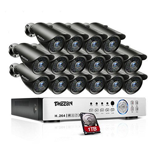 [Better Than 1080N] TMEZON 16CH 1080P AHD Video DVR Security System 16 AHD 2.0MP Super Night Vision 42 IR LEDs HD Outdoor Security Camera QR Code Scan Easy Setup with (10 Channel Vga Video Splitter)