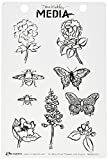 Ranger MDR50421 Scribbly Flowers & Insects Dina Wakley Media Cling Stamps, 6'' by 9'', Clear