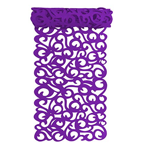 PHNAM Rectangle Hollow Out Felt Table Runners 40x11 Inch Household Desk Mat for Home Kitchen Decoration Washable (Purple) -