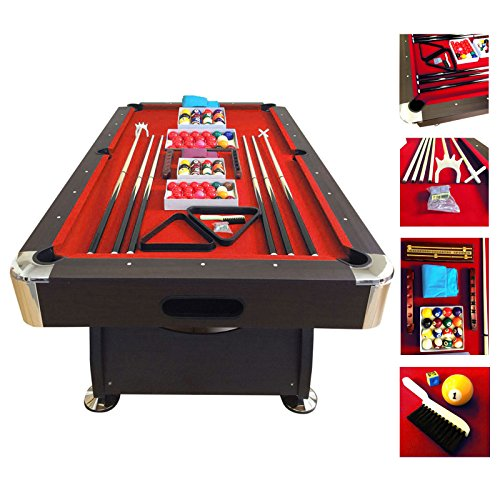 7' Feet Billiard Pool Table Snooker Full Set Accessories Game mod. RED DEVIL by SIMBASHOPPING USA