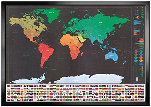Wonderful Maps Scratch Off World Map. Perfect Gift for Travelers. With Country Flags, US States, Australian States and Canadian Provinces On Black Background. Prime World Scratch Map Poster. Photo #8