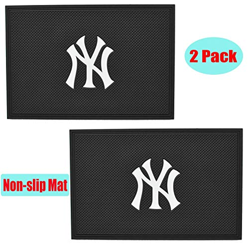 2 Pack MLB Yankees Logo Universal Anti-Slip Sticky Anti Slide Dash Cell Phone Mount Holder Mat Car Dashboard Sticky Pad Adhesive Mat-Holds Cell Phones, Sunglasses, Keys and More.