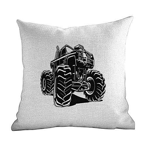 Custom Polyester Pillowcases,Truck,Modified Automobile Monochrome Sketch Pattern Monster Pickup Truck Off Road Vehicle,Black White,Apply to couch22 -