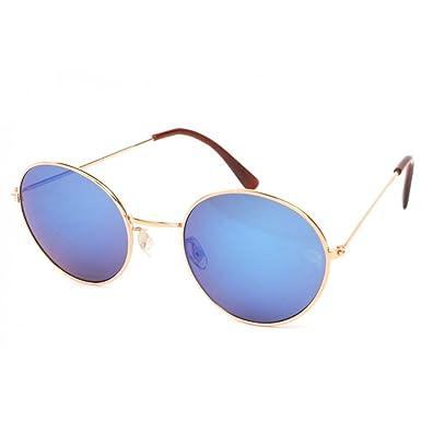 09765d5b33e327 Eye Wear - Lunettes Soleil John monture dorée verres reflets bleu   Amazon.co.uk  Clothing