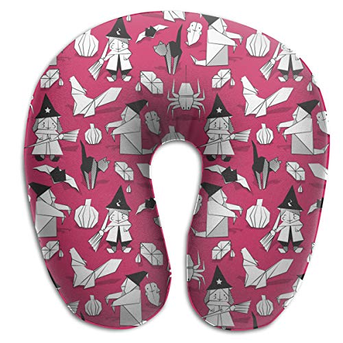 Juewu-474 Comfortable Memory Foam Travel Pillow, Halloween Witches Ghosts Pumpkins Spider Neck Pillow for Car Travel, 360 Degree -