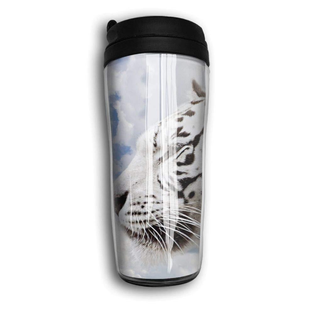 Tigres blancos Imagen hermosa Taza de viaje Caf/é Termo Frasco de acero inoxidable Botella de agua
