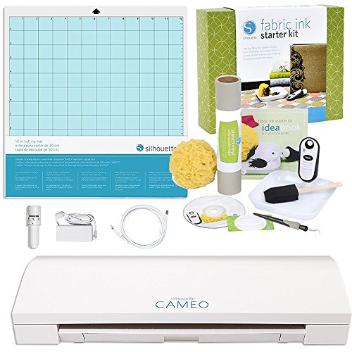 Silhouette Digital Craft Cutter with Fabric Ink Starter Kit (Digital Silhouette Cutter Craft)