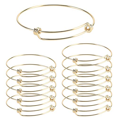 Wholesale 12 PCS Wire Blank Bangle Bracelet Adjustable Expandable Stainless Steel Bracelet Bulk for Jewelry Making