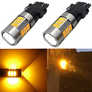 Alla Lighting Brightest Amber High Power 4014 54-SMD 3157 3156 T25 Amber Yellow LED Light Bulbs for Turn Signal Blinker Side Marker Light