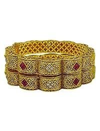 Matra Goldtone Beautiful Ethnic 2 Pcs Screw Lock Bangle Set Kada Bracelets New Jewelry