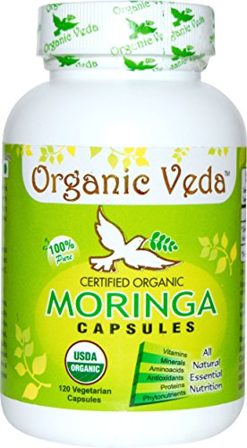 Organic Moringa Powder 120 Veg Capsules. 100% Pure and Natural Raw Herbal Dietary Super Food Supplement. Non GMO Gluten FREE. US FDA Registered Facility. Kosher Certified Vegetarian Capsule. All Natural