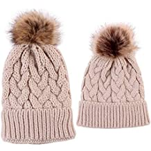 2PCS Mother&Baby Hat Parent-Child Hat Family Matching Cap Winter Warmer Knit Wool Beanie Ski Cap
