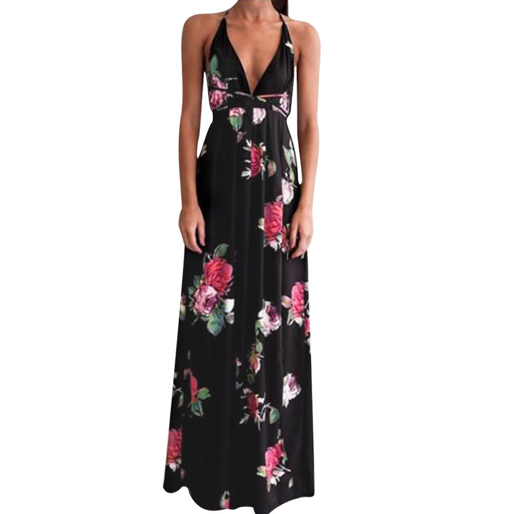 Nmch Women's Floral Print Deep V-Neck Slit Maxi Dress Backless Lace Up Long Dresses Sleeveless Beach Sundress 2019 New(Black,XL)