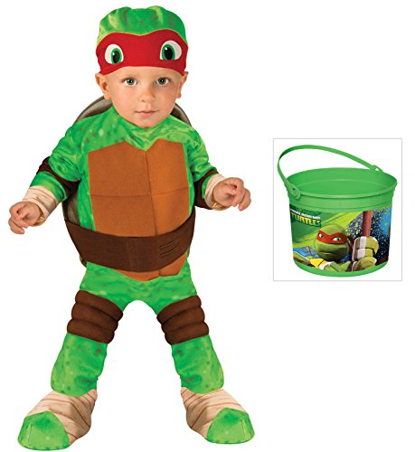 Tmnt Raphael Toddler Costumes Shirt (Teenage Mutant Ninja Turtle - Raphael Toddler Costume TMNT Bucket , (2T-4T))