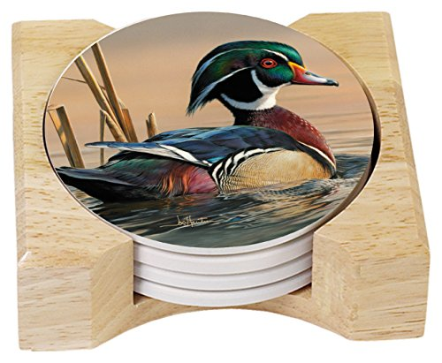 CounterArt Water Birds Absorbent Coasters in Wooden Holder, Wood Duck, Set of 4