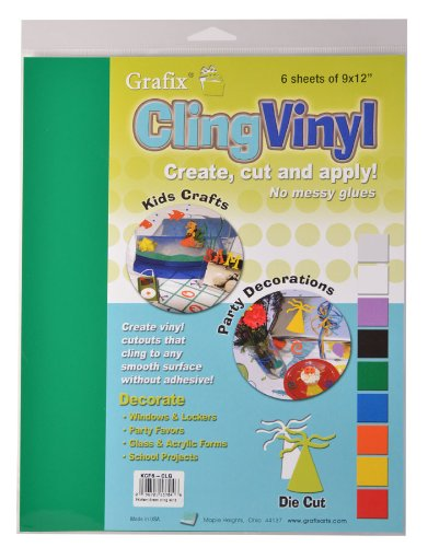 KCF6W Grafix 9-Inch-by-12-Inch Cling Film White 6-Pack
