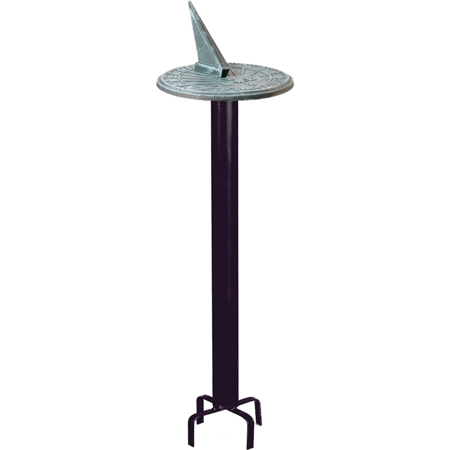 Rome B80 Black Classic Sundial Pedestal Base, Wrought Iron with Black Powder Coat, 24-Inch Height