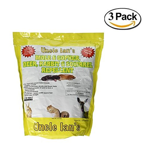Uncle Ian's Mole & Gopher, Deer, Rabbit & Squirrel Repellent, 5.5 lb 3 packs (Organic Squirrel Repellent)
