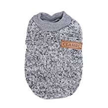 Wishwin Pet Clothes For Winter Autumn Warm Dog Wool Sweater Puppy Coat 10 Colors Small Size XS To XXL Dog Jacket(Grey,XS)