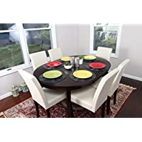 Ivory Leather 7pc Oval Solid Top Dining Table Contemporary Cappuccino Finish Solid Wood Dining Table Chairs Set Oval