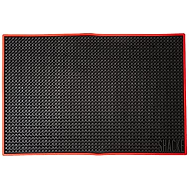 Shacke 18 x 12 inch Bar Service Mat (Black with Red Rim)