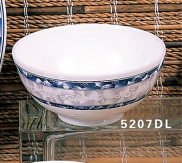 Blue Dragon Rice Bowl - Thunder Group Asian Melamine Blue Dragon Rice Bowl, 30 Ounce - 12 per case.