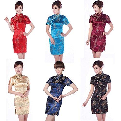 Robe sans Dragon Courte Robe Qipao de DiiZii Et Rouge Chinois Traditionnel Motif et Cheongsam Manche Cheongsam Motif Femme Paon Femme Paon avec Court Chinois ZTEE5x