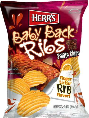 Herr's - Baby Back Ribs Potato Chips, Pack of 84 bags