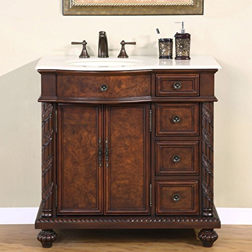 Silkroad Exclusive Marble Top Single Left Sink Bathroom Vanity with Furniture Cabinet, 36