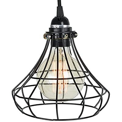 Pendant Lighting by ArtifactDesign - With Industrial Style Sphere Cage for Authentic Vintage Lights - Includes 15 feet Plug-in Fabric Cord with Toggle Switch and One Edison Bulb , Black