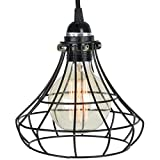 Unique Sphere Cage Industrial Style Pendant Lamp by ArtifactDesign Includes 15' Plug-in Fabric Cord with Toggle Switch and Vintage Edison Light Bulb in Black