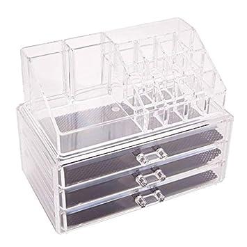 18d83dce3 Caja de almacenamiento con 3 cajones para maquillaje, organizador de  joyería transparente, acrílico,