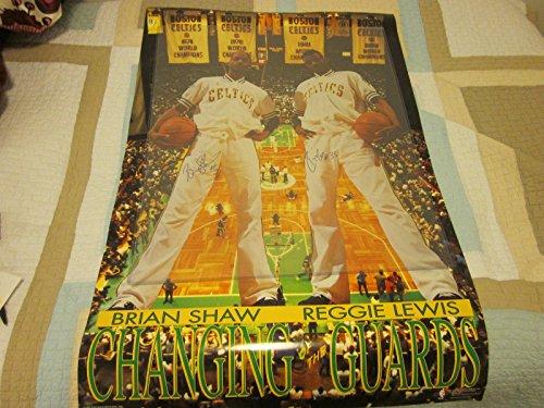 Reggie Lewis Autographed Photo - 1991 & Brian Shaw Boston Celtics Poster Hologram - Autographed NBA Photos