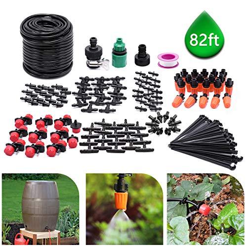 CYEVA 82ft/25M Drip Irrigation Kit with 40Pcs Adjustable Emitters, 2 Different Sprinkler Types, Water-Saving DIY Sprinkler System for Vegetable Garden, Lawn, Pot Plants, Rain Barrel Kit (Vegetable Barrel)