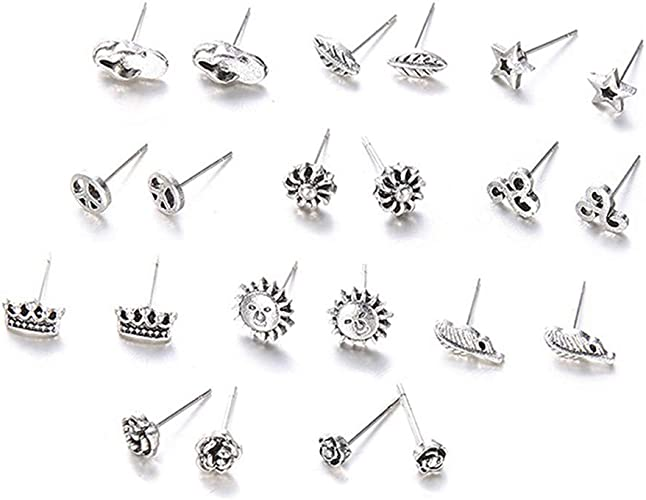 11Pairs//Set Bohemian Pretty Simple Silver Ear Stud Earrings Women Jewelry Gift