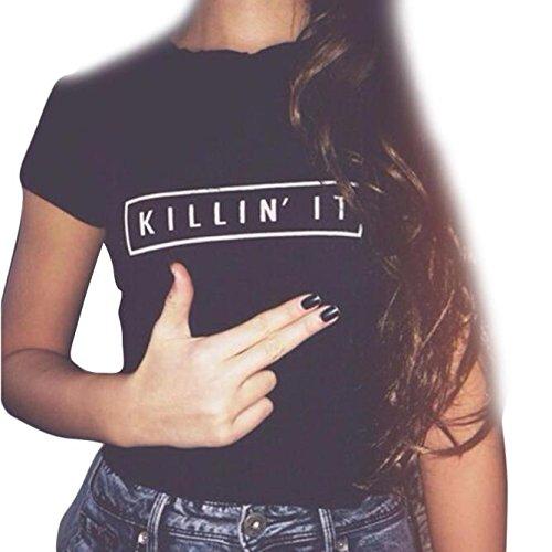 Lisingtool Women's Letter Printing Short Sleeve Cotton Blouse Tops T-Shirt