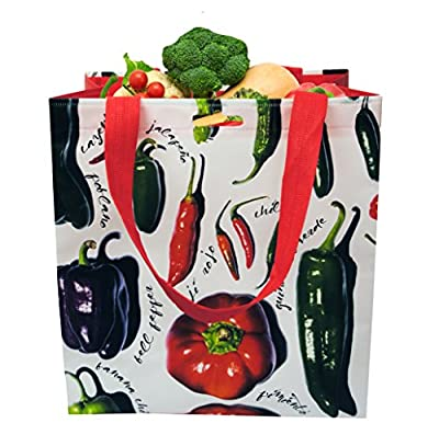 Earthwise Reusable Grocery Bags Shopping Tote w/ Peppers Print Eco Friendly (6 Pack)