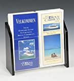 Set of 2 - 2-Pocket Literature Holder for 4x9 Pamphlets, Tabletop Brochure Rack with Clear Acrylic Front Panel and Black Sides