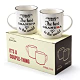 Janazala Probably The Best Grandparents Ever Coffee Mugs, Anniversary and Birthday Gifts for Grandma and Grandpa Grandfather and Grandmother, Ceramic, 13 Ounce, Set of 2