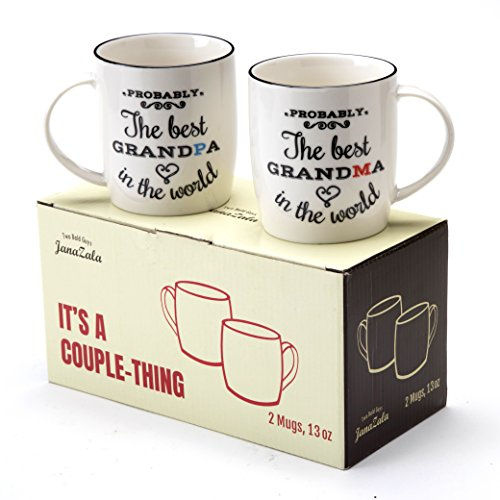 Janazala Probably The Best Grandparents Ever Coffee Mugs, Anniversary and Birthday Gifts for Grandma and Grandpa Grandfather and Grandmother, Ceramic, 13 Ounce, Set of 2 by Janazala