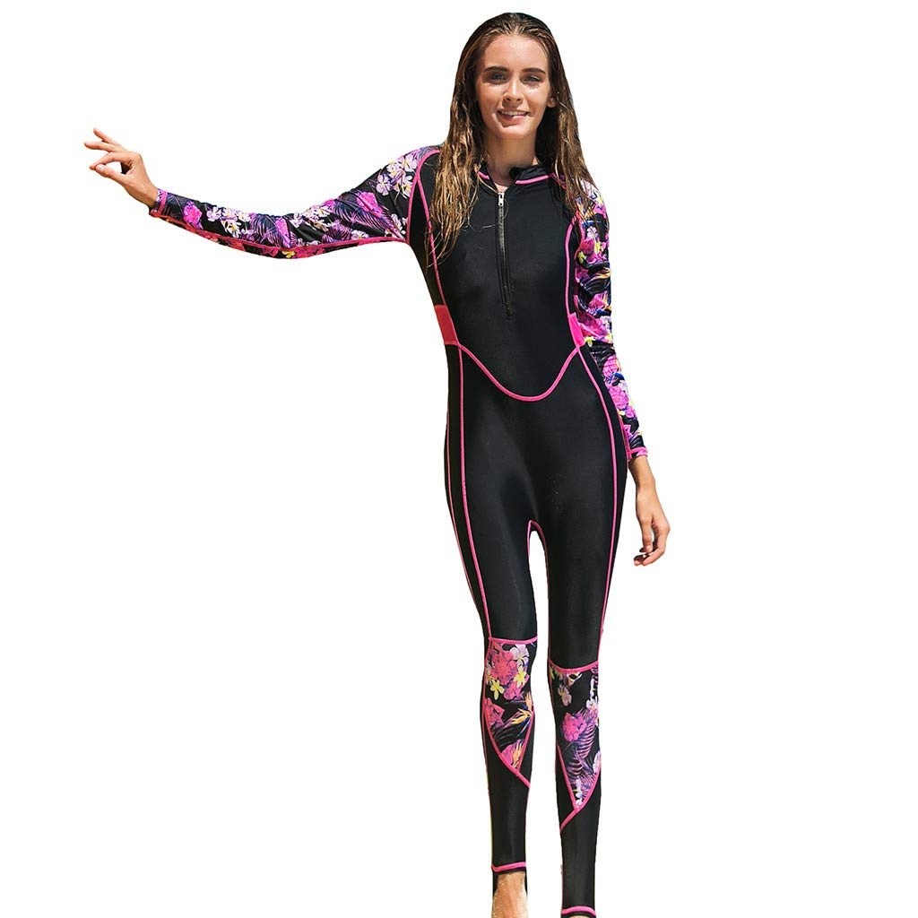 Women Wetsuit, UV 50 + Sun Protection Zipper Surf Suit Breathable Diving Suit Hot Pink by Lazapa - Clothing