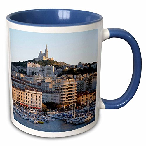 3dRose Danita Delimont - France - France, Marseille. Vieux-Port with Basilique Notre Dame de la Garde - 15oz Two-Tone Blue Mug (mug_227261_11)